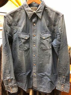 c9e374fa2e4 RRL Ralph Lauren Indigo Denim Kane Western Shirt Discharge Wabash Stripe  NWT L