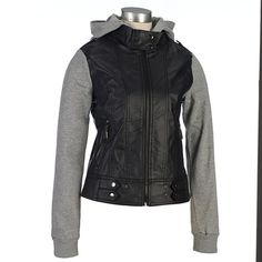 I want this a lot Faux Leather Moto Jacket with Fleece Sleeves and ...