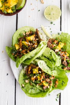 Curried Thai Short Rib Lettuce Wraps with Peanut Sauce + Mango Salsa | Half Baked Harvest