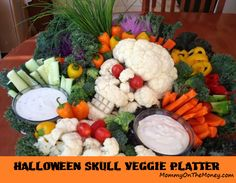 Halloween Food - Veggie Platter - Cauliflower Skull