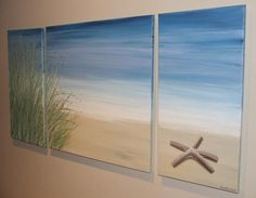 Starfish Beach Sand Dune Blue Seascape Canvas by Artsolutely