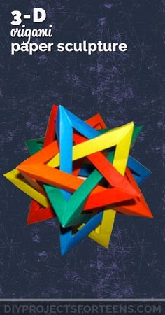 Cool Crafts for Boys and Girls - 3d origami paper sculpture. Teen DIY Projects and Fun Creative Crafts for Tweens Diy Projects For Teens, Diy For Teens, Crafts For Kids To Make, Crafts For Teens, Hobbies And Crafts, Teen Crafts, Cool Diy Projects, Kids Diy, Art Projects