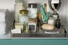 ultimate-linen-closet-handled-trays for guest!