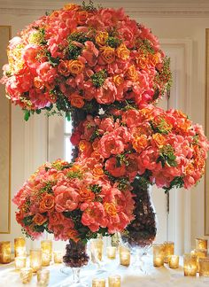 Bold Coral & Gold Table Setting