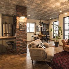 ポスター/観葉植物のある部屋/ジョーカーキャビネット/crashgate/にこあんど…などのインテリア実例 - 2016-05-10 11:02:15 | RoomClip(ルームクリップ) Room Interior Design, Modern Interior, Interior Styling, Interior Decorating, Living Room Storage, Living Room Decor, Cozy Room, Exposed Brick, Brick Accent Walls