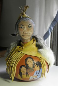 Storyteller Gourd Doll Hand Painted and by patmorrisartist on Etsy, $275.00