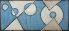 Tela de parede com desenho Abstrato nas cores azul e bege 180x70cm. http://www.moradamoveis.com/