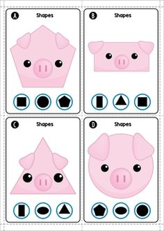 The Three Little Pigs Math Centers. Clip the shape. Three Little Pigs Houses, Three Little Pigs Story, 3 Little Pigs Activities, Preschool Activities, Preschool Math, Maths, Kindergarten, Pig Costumes, Pig Crafts