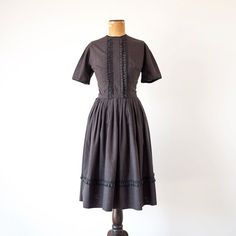 Vintage 1950s dress / brown black plaid / 50s by BessGeorgette, $128.00