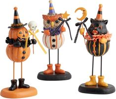 Vintage Halloween Figures with Wands Set of 3