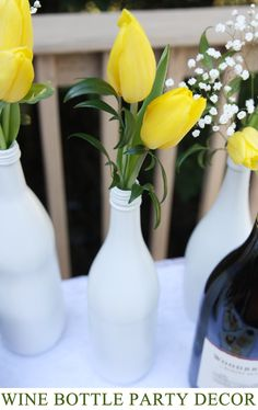 Spray Paint Wine Bottles for Quick + Easy Table Decor