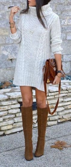 fashionable outfit / sweater dress + bag + brown high boots
