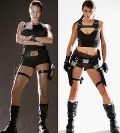 Angelina Jolie as Lara Croft (Left) and the current Lara Croft franchise model.