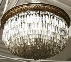 crystal ceiling chandelier pictures | Crystal Ceiling Mount Chandelier at 1stdibs