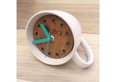 Eclock Relojes de madera: Eclock taza ( Detalle azul) - Kichink!