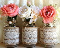 3 burlap and lace covered mason jar vases wedding bridal shower decorations Mason Jar Vases, Bottles And Jars, Mason Jar Crafts, Bridal Shower Decorations, Wedding Decorations, Wedding Ideas, Wedding Table, Diy Wedding, Table Decorations