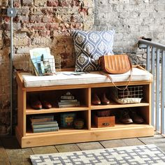 Dorchester Pine Shoe Storage Bench with Cushion (M418) with Free Delivery | The Cotswold Company £249 boot room storage?