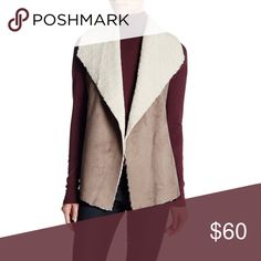 "MADISON & LOLA Faux Shearling Vest -Open front with faux shearling shawl collar - Sleeveless - Handkerchief hem - Approx. 26"" shortest length, 29"" longest length - Imported Fit: this style fits true to size. Madison & Lola Tops"
