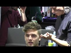 Men hairdressing - male models hair, curly high texture in a classic look 2012 Slikhaar TV Event.