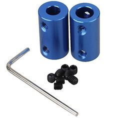 WEONE Blue 6.35 x 8mm Aluminum Alloy Shaft Motor Rigid Solid Coupling Coupler With M4 Tight Screws (Pack of 2)