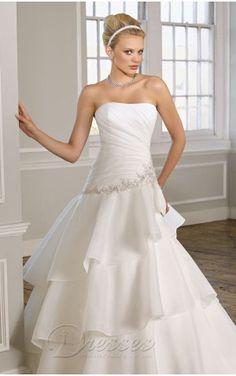 Simple A-line Floor-length Strapless White Chiffon Dress