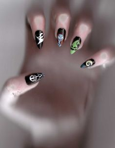 Nightmare Before Christmas Nails, I love The Nightmare Before Christmas so I decided long ago that it would be my nail design for Nightmare Before Christmas ... #NightmareBeforeChristmasNail #ChristmasNailArt #HalloweenNailArt