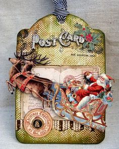 Love, Love - Vintage Post Card Santa Tag...