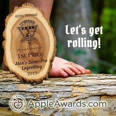 Let the Lumberjack World Championships begin! We love all the big events that our small town hosts. Our unique, natural wood log plaques fit perfectly with this event and any other event that is looking for awards or thank you gifts with an outdoorsy feel. #rusticaward #lumberjackchamps #rawedgedesign #uniqueawards Sports Awards, Service Awards, Wood Logs, Metal Hangers, Retirement Gifts, Natural Wood, Events, Apple, Big