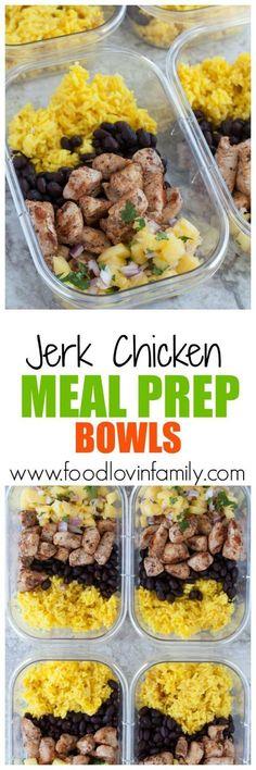 jerk chicken meal prep bowls PIN image