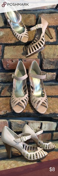 """Fioni Patent Leather Heels Peach patent leather heels by Fioni. Size 6.5. See fourth photo for signs of wear. Heel height 4"""". Fioni Shoes Heels"""