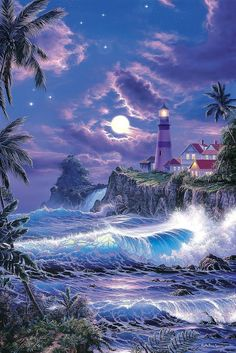 Beautiful Paintings of Lighthouses Lighthouse Painting Beautiful Paintings, Beautiful Landscapes, Ciel Nocturne, Lighthouse Painting, Lighthouse Storm, Lighthouse Pictures, Beautiful Moon, Simply Beautiful, Seascape Paintings