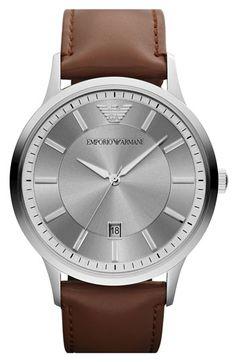 ab2e0e79a34 Emporio Armani Round Leather Strap Watch