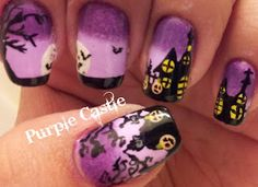 Purple / Black / Yellow nail polish - Haunted House / moon / trees / bats - HALLOWEEN  NAILS - holidays