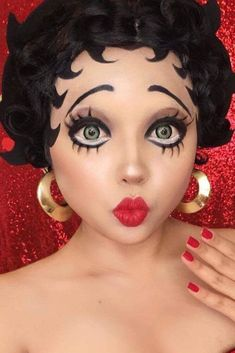Betty Boop ladies Halloween costume party make up ideas