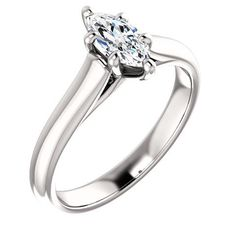 0.50 Ct Marquise Solitaire Diamond Engagement Ring 14k White Gold