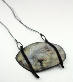 Satomi Kawai Necklace: Inner Activity 1, 2013 Steel, enamel, sterling silver, linen cord W 11.5 x H 12.0 D 0.8 cm, total height: 51.0 cm Sol...