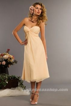 Sexy Champagne A-Line/Princess Chiffon Bridesmaid Dress With Zipper Up (MW3D0B)-LuckyDressShop.com