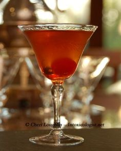 Boardwalk Manhattan    2 parts Canadian Club Whisky  3/4 partRed Vermouth  1/2 part Apricot Brandy    Barspoon Maraschino Cherry Juice  Maraschino Cherry Garnish    Place barspoon maraschino cherry juice and maraschino cherry in well of chilled martini glass.  Set aside.  Place remaining liquid ingredients in mixing glass with ice.  Stir until chilled.  Strain into prepared martini glass.