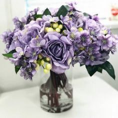 Rose Bouquet Discover Rose and Mixed Floral Arrangement in Vase House of Hampton Rose and Mixed Floral Arrangements and Centerpieces in Vase Flower/Leaves Purple Wedding Centerpieces, Wedding Flower Arrangements, Flower Centerpieces, Flower Vases, Floral Arrangements, Purple Centerpiece, Purple Wedding Bouquets, Centrepieces, Bouquet Wedding