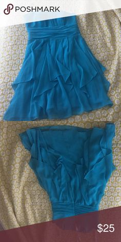 Aqua Davids Bridal strapless ruffle dress size 8 Strapless flowy bridesmaids dress- Aqua- size 8- longest layer just above knee. Boning inside- rouched waist David's Bridal Dresses Strapless