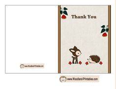 Baby Shower Thank You Card Featuring Deer and Hedgehog
