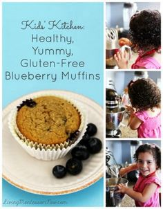 These kid-made healthy, yummy, gluten-free blueberry muffins are protein-rich, dairy-free, & free from most allergens. (Printable recipe is part of the Kids' Kitchen Monthly Series)