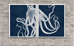 Octopus Art Print set of 2...will be printed on matte paper. No Matting or Frame are included.    SHIPPING... Packaged in a clear sleeve and shipped