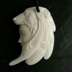 Bone Pendant Wolf Carved Indian Shaman Amulett Native Tribal Necklace Unique | eBay