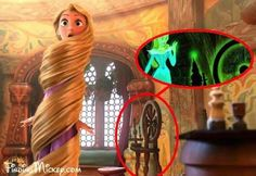 The spinning wheel from Sleeping Beauty is seen in Rapunzel's room in Tangled .