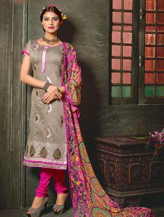 Gray Chanderi Silk Churidar Suit 59809