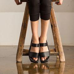 Black leather women shoes sandal accessories