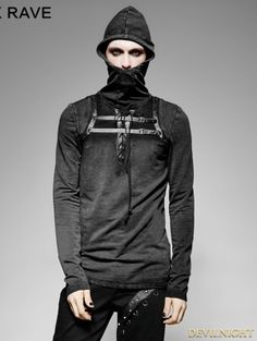 316eacd705a Black Steampunk Leather Loop Hooded T-Shirt for Men Casual Steampunk
