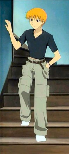 Kyo Sohma - Grey green tint khakis, Black v neck, red eyes, black and white bracelet, orange hair & skinny belt (brown)