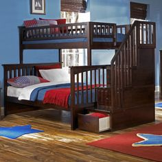 Atlantic Furniture Columbia Staircase Bunk Bed with Storage   Wayfair